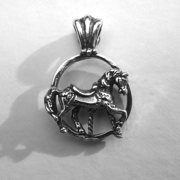 Carousel Horse Pendant handmade in Sterling or 14k Gold hand made by All Animal Jewelry