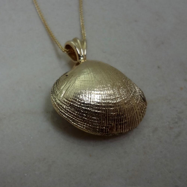 Clam Shell Pearl Pendant handmade in Sterling or 14k Gold by All Animal Jewelry