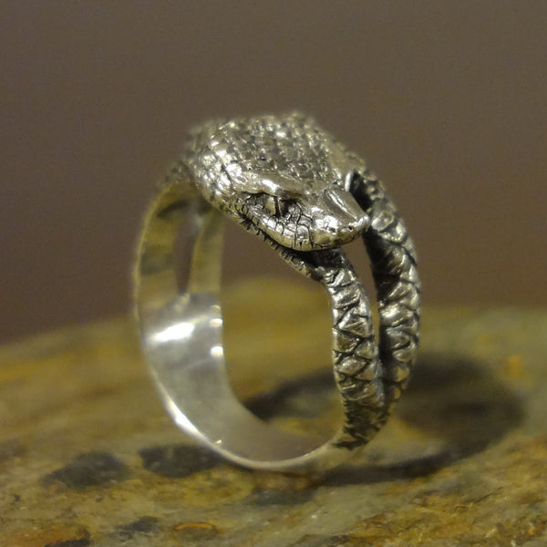 Snake Ring handmade in Sterling or 14k gold handmade by All Animal Jewelry