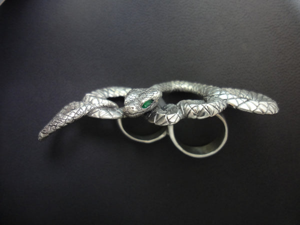 Snake Double Ring handmade in Sterling or 14k Gold by Tosa Fine Jewelry