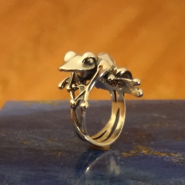 Big Frog Ring handmade in Sterling or 14k Gold hand made by All Animal Jewelry