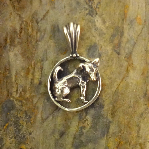 Jack Russell Terrier Pendant handmade in Sterling or 14k Gold hand made by All Animal Jewelry