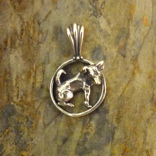 Jack Russell Terrier Dog Pendant - Circle -Handmade - 14k Gold or Sterling Silver