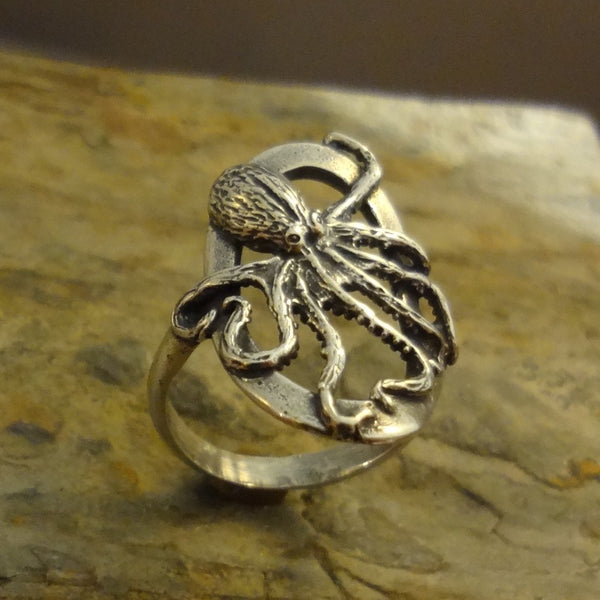 Octopus Ring, Oval, handmade in Sterling or 14k Gold by All Animal Jewelry