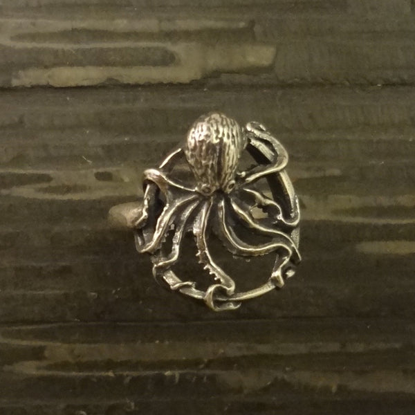 Octopus Ring, Round, handmade in Sterling or 14k Gold hand made by All Animal Jewelry