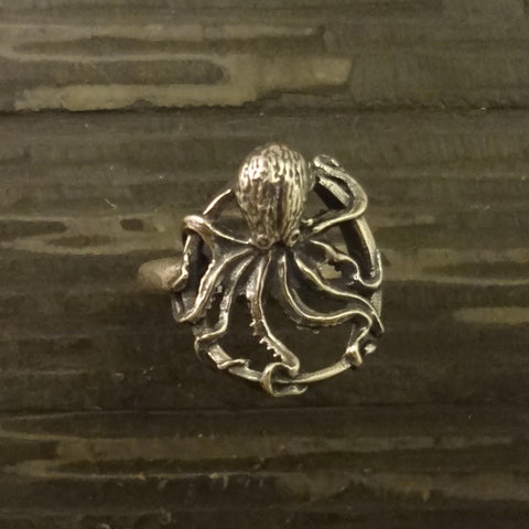 Octopus Ring, Round, handmade in Sterling or 14k Gold by Tosa Fine Jewelry