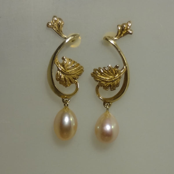 Parson's Leaf and Pearl Designer Earrings