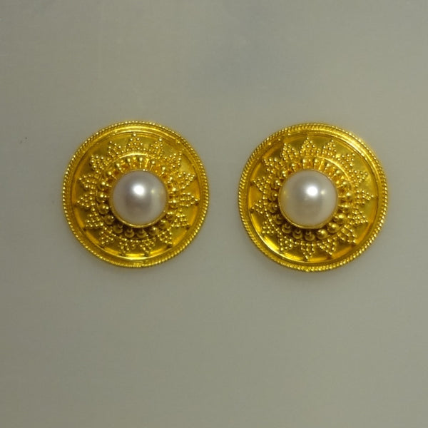 Gorgeous 22k Gold Granulated Texture and Cultured Pearl