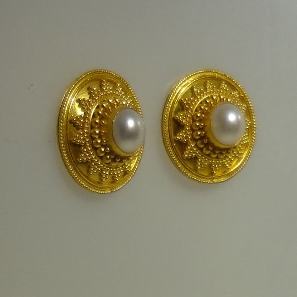 22k Solid Gold and Pearl Granulation Beaded Design Pierced Earring by Tosa Fine Jewelry