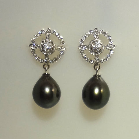 Gorgeous 14k White Gold and Diamond Genuine Tahitian Black Pearl Pierced Earrings
