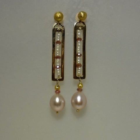High karat gold, pink sapphires, seed pearls and freshwater pearl handmade one-of-a-kind earrings