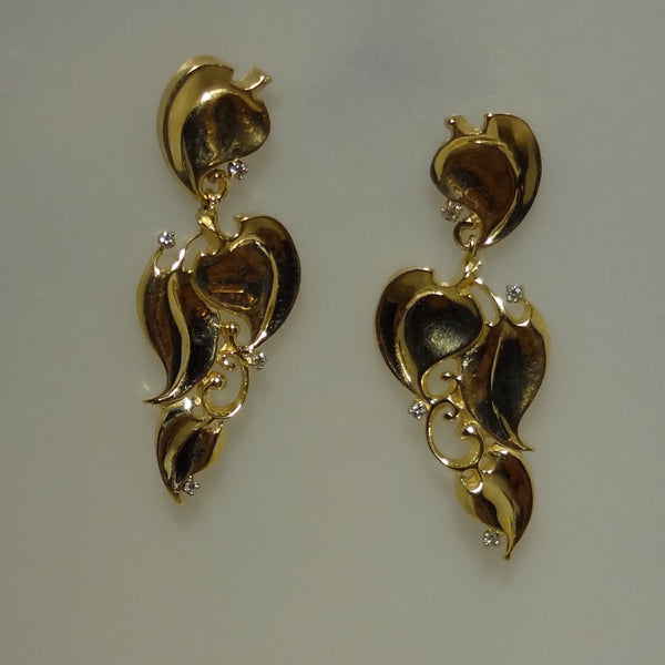 Vine and Leaf Pierced Earrings with Diamonds Beautiful Handmade Exclusive