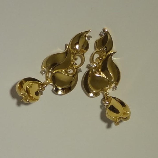 Handmade 14k Gold Leaves and Diamonds Gorgeous Pierced Earring hand made by All Animal Jewelry
