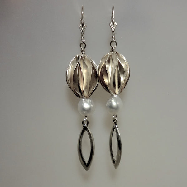Long Sterling Silver Handmade Beads and Cultured Pearl Earrings