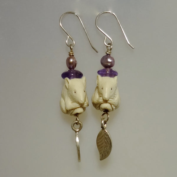 Sterling silver Unique dangle earrings with hand carved mice, amethysts and freshwater pearls.