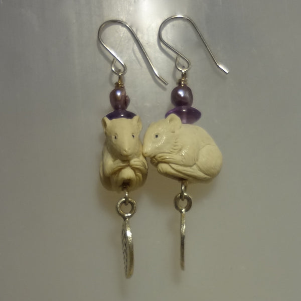 Unique dangle earrings with hand carved mice, amethysts and freshwater pearls on sterling silver wires.