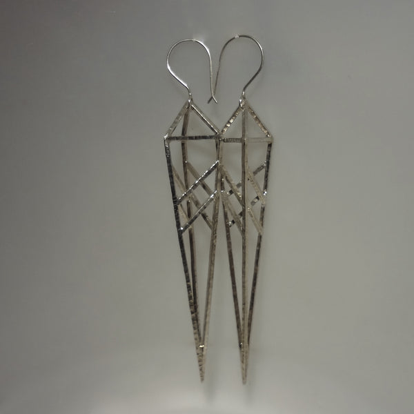 Sterling silver BIG modern architectural pierced earrings