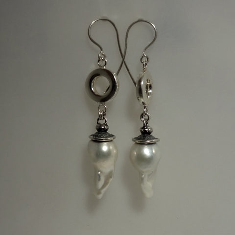 Beautiful and Large Freshwater Pearl and Sterling Silver Earrings