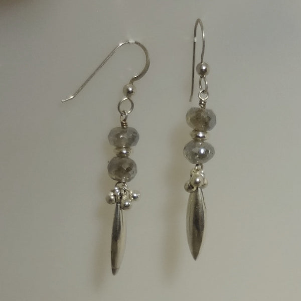 Handmade and unique Labradorite bead and sterling silver earrings