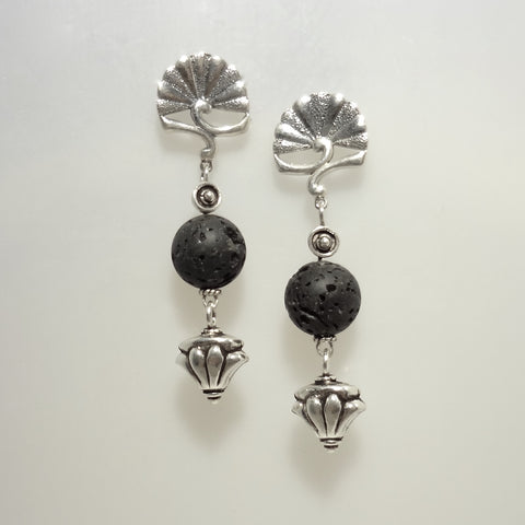 Sterling silver and lava bead handmade unique custom pierced earring.