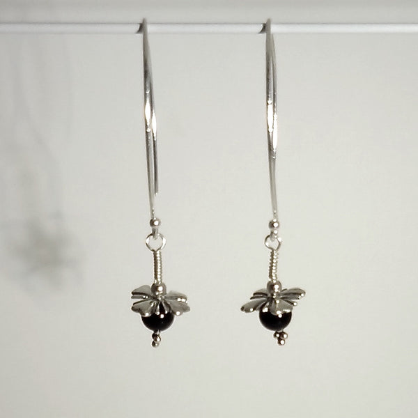Black Onyx Bead Flower Earrings - Handmade in Sterling Silver