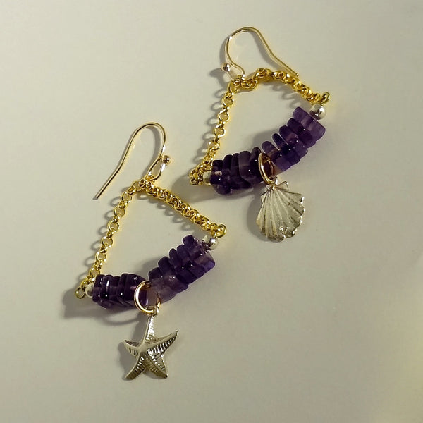 Handmade mixed metal and amethyst earrings.  $67. Gold fill, sterling silver and brass.  2 inches long and really comfortable.  All Animal Jewelry featuring Jan David Design Jewelers.