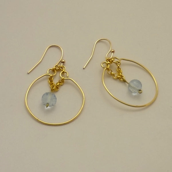 Blue Topaz Chain Dangle Earrings  - SORRY, SOLD