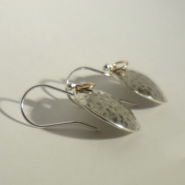 Hammered Disc Earrings handmade in Sterling or 14k Gold by Tosa Fine Jewelry