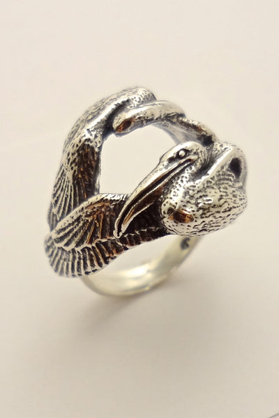 The Cove Pelican Ring handmade in Sterling or 14k Gold by Tosa Fine Jewelry