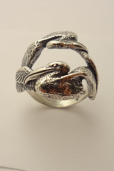 The Cove Pelican Ring - Handmade in 14k Gold or Sterling Silver