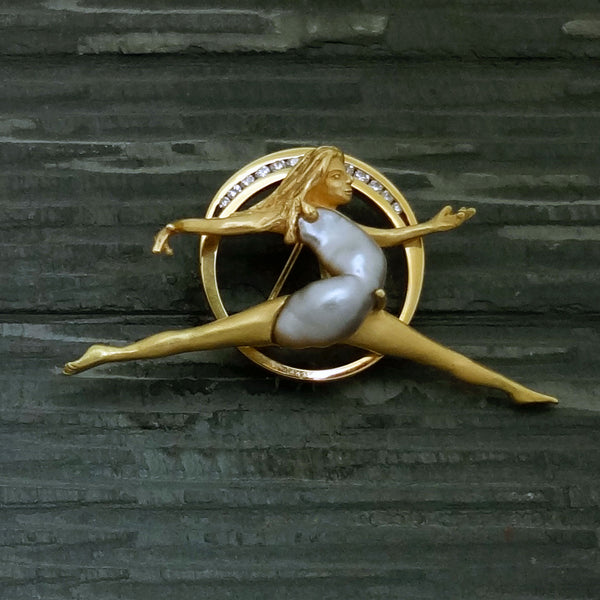 Biwa Pearl Dancer Volier 18k gold Diamonds Custom brooch USA handmade