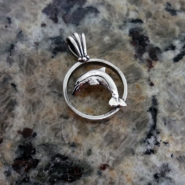 Dolphin Circle Pendant handmade in Sterling or 14k Gold by Tosa Fine Jewelry
