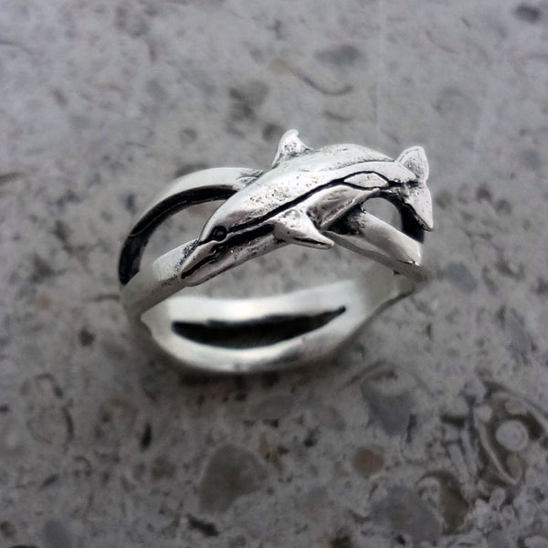 Little Dolphin Wave Ring handmade in Sterling or 14k Gold by Tosa Fine Jewelry