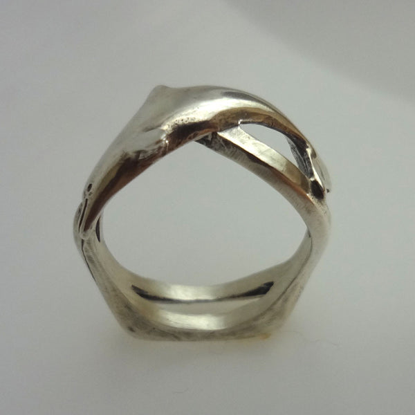 Dolphin Wave Ring handmade in Sterling or 14k Gold by Tosa Fine Jewelry