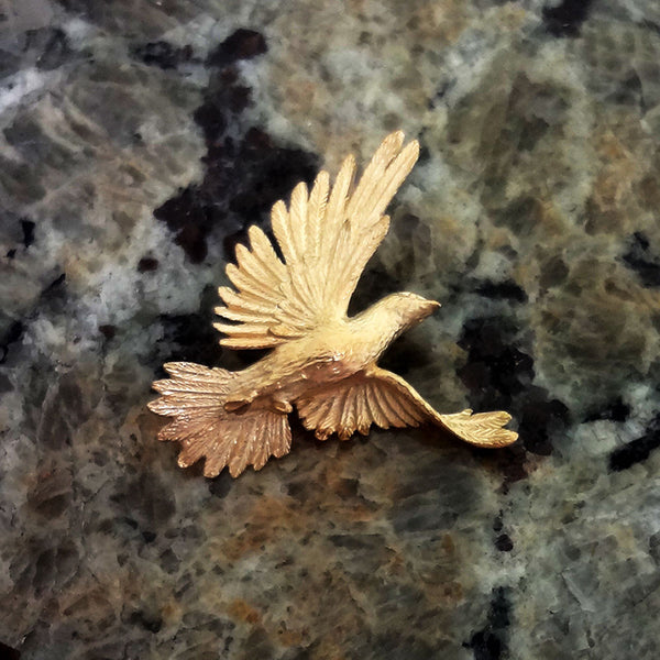 Dove Pendant handmade in Sterling or 14k Gold by Tosa Fine Jewelry