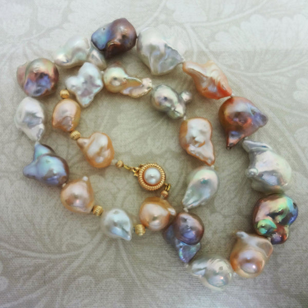 Natural Multicolor Baroque Pearl silk strand 14k gold clasp USA