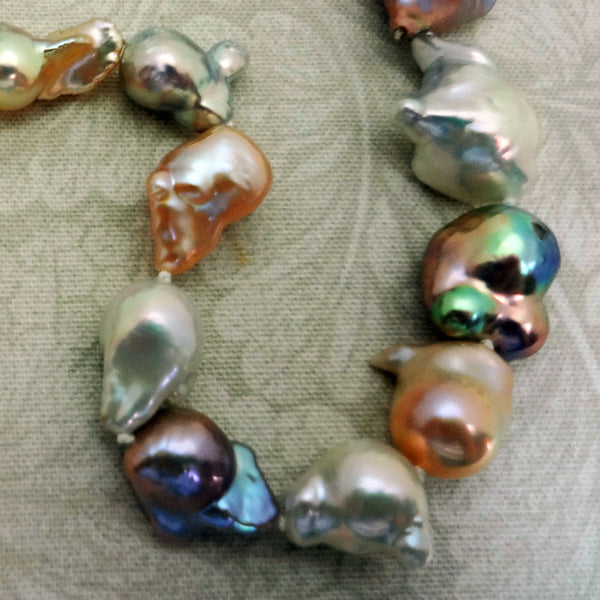 Dragon Baroque Pearl Strand Natural 14k gold silk button necklace USA