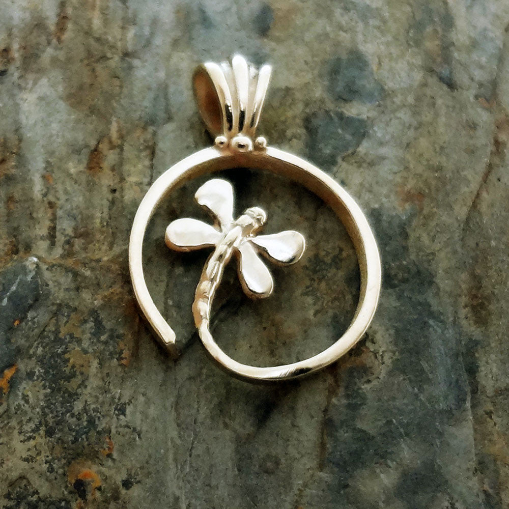 Dragonfly pendant charm silver 14k gold butterfly usa handmade spiral dragonfly pendant handmade in 14k gold or sterling silver aloadofball Gallery