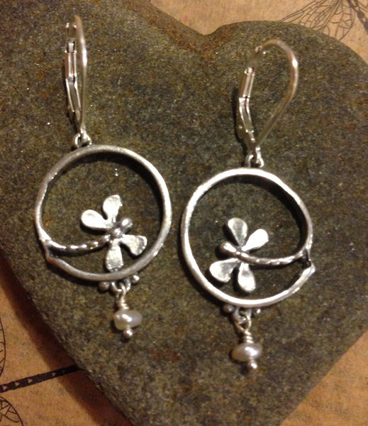 Handmade Dragonfly Earrings - Sterling Silver or 14k Gold
