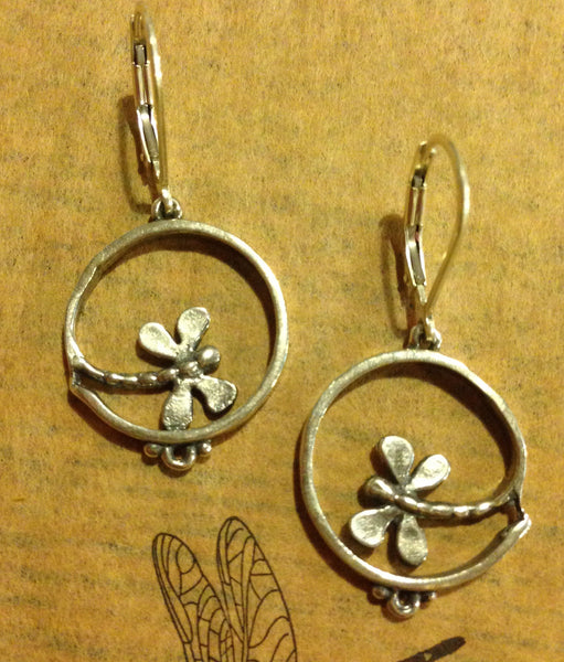 Handmade dragonfly earrings in stelring or 14k gold