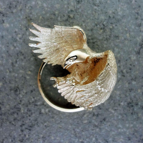 Eagle Pendant handmade in Sterling or 14k gold by All Animal Jewelry
