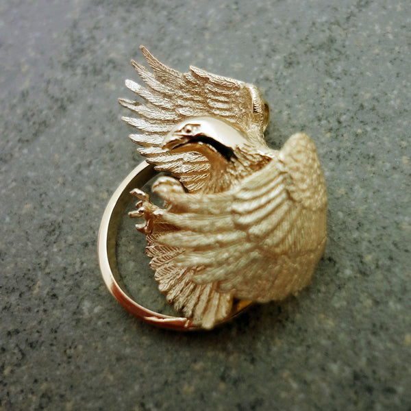 Bald Eagle Pendant - Handmade in 14k Gold or Sterling Silver