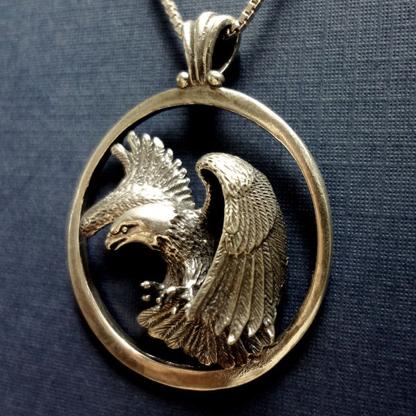 Bald Eagle Pendant handmade in Sterling or 14k gold by All Animal Jewelry