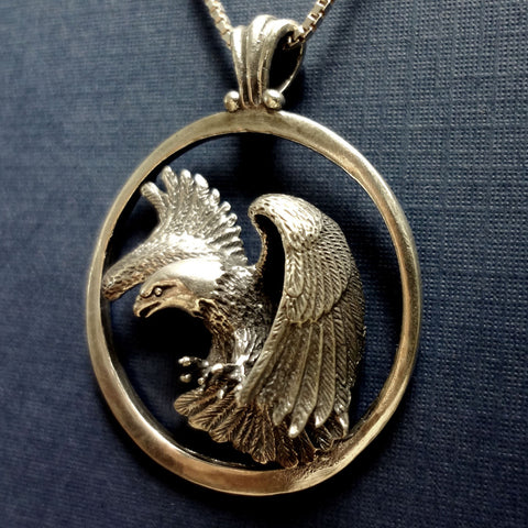 Bald Eagle Circle Pendant handmade in Sterling or 14k gold by Tosa Fine Jewelry