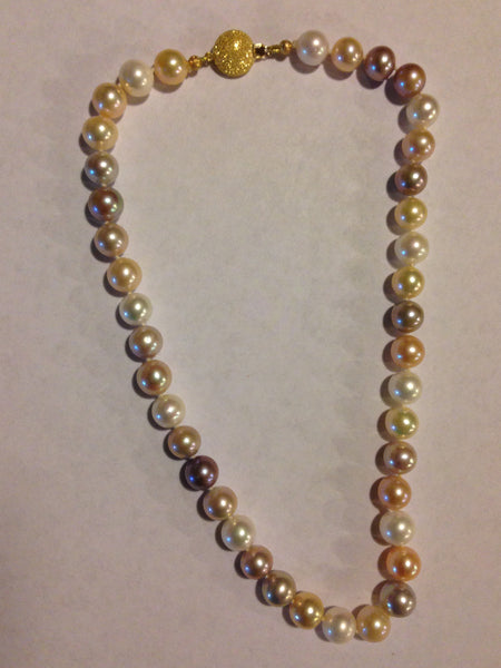 Gorgeous Strand of Large Multicolored Freshwater Pearls