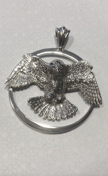 peregrine falcon bird pendant, hand made by all animal jewelry