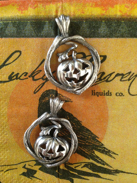 jack-o-lantern pumpkin pendant, hand made by all animal jewelry