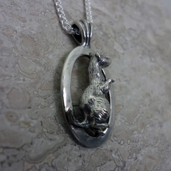 Ferret Circle Pendant handmade in Sterling or 14k Gold by Tosa Fine Jewelry