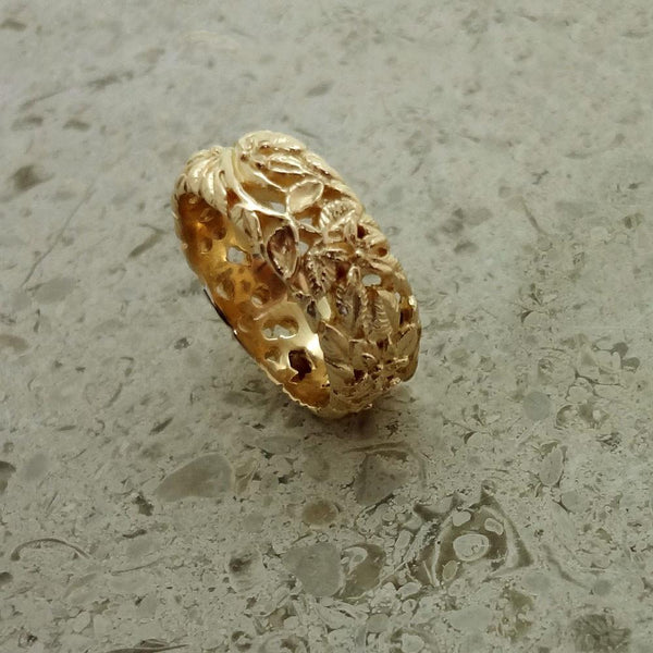 Flower and Vine Ring handmade in Sterling or 14k Gold by All Animal Jewelry