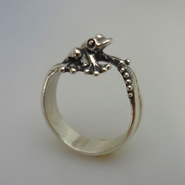 Bubble Frog Ring in Sterling Silver or 14k Gold
